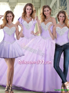 Elegant 2015 Plus Size Beaded and Appliques Lavender Quinceanera Dresses