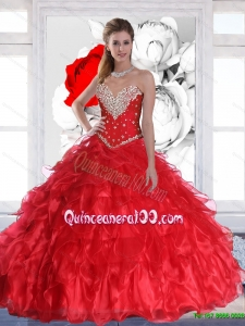 New Arrival 2015 Plus Size Red Quinceanera Dresses with Ruffles and Beading
