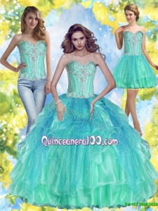 Summer 2015 Plus Size Ball Gown Sweetheart Quinceanera Dresses with Beading