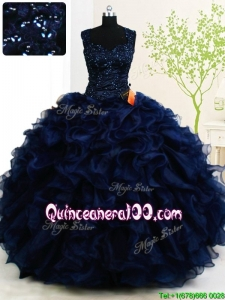 Affordable Straps Organza Ruffled Beaded Button Up Quinceanera Dress in Navy Blue