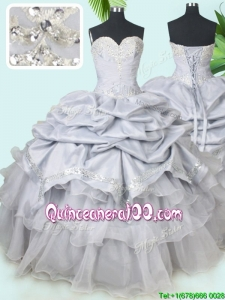 Classical Organza and Taffeta Grey Quinceanera Dress with Beading and Pick Ups