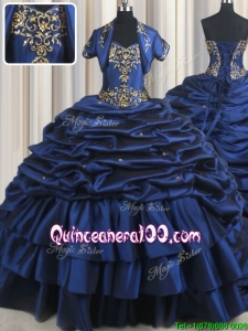 New Arrivals Taffeta Brush Train Ruffled Layers Bubble Quinceanera Dress in Navy Blue