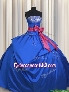 New Style Strapless Bowknot and Beaded Bust Blue Quinceanera Dress in Taffeta