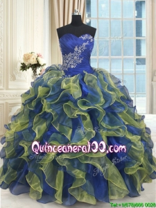 Pretty Organza Blue and Yellow Quinceanera Dress with Ruffles and Beading