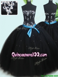 Pretty Puffy Skirt Strapless Beaded and Belted Tulle Quinceanera Dress in Black