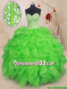 Pretty Visible Boning Beaded Bodice Organza Quinceanera Dress in Spring Green