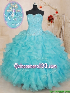 Simple Organza Beaded Bodice and Ruffled Quinceanera Dress in Aqua Blue
