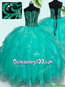 Unique Visible Boning Turquoise Organza Quinceanera Dress with Ruffles and Beading