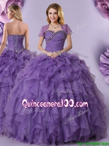 Beautiful Ruffled and Beaded Organza Quinceanera Dress in Purple