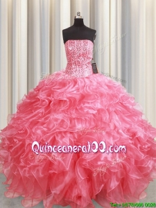 Discount Visible Boning Strapless Beaded Bodice Ruffled Coral Red Quinceanera Dress