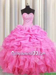 Elegant Beaded Bubble and Ruffled Rose Pink Quinceanera Dress in Organza