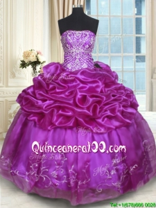Exquisite Strapless Embroideried Sweet 16 Dress with Pick Ups and Beading