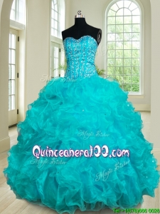 Fashionable Ruffled and Beaded Bodice Teal Quinceanera Dress in Organza