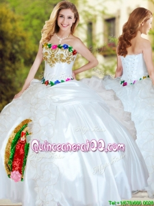 Hot Sale Applique and Ruffled Big Puffy Quinceanera Dress in White
