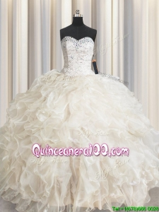 Hot Sale Sweetheart Laced Ruffled and Beaded Quinceanera Dress in Champagne