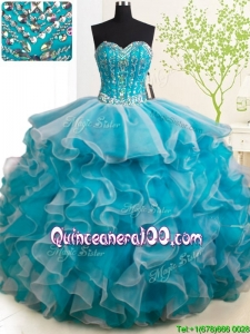 Hot Sale Visible Boning Brush Train Quinceanera Dress in Teal and White