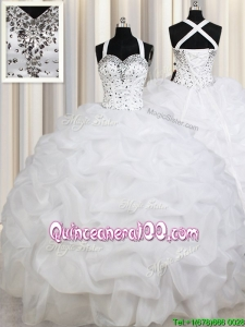 Lovely Puffy Skirt Straps Organza White Quinceanera Dress with Beading and Pick Ups