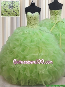Lovely Ruffled and Beaded Bodice Organza Quinceanera Dress in Yellow Green