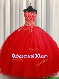 Most Popular Big Puffy Beaded Sweetheart Red Quinceanera Dress in Tulle