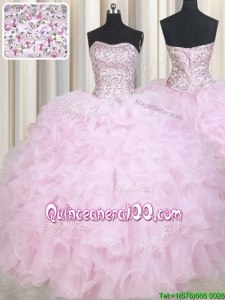 Most Popular Puffy Skirt Beaded Bodice and Ruffled Baby Pink Quinceanera Dress