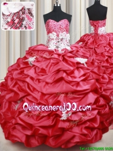 New Style Applique and Bubble Taffeta Coral Red Quinceanera Dress with Brush Train