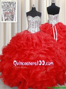 Perfect Ball Gown Organza Red Quinceanera Dress with Beading and Ruffles