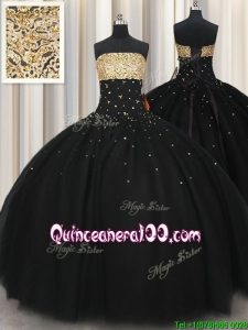 Perfect Big Puffy Beaded Strapless Black Quinceanera Dress in Tulle