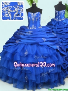 Popular Ruffled Layers and Bubble Royal Blue Quinceanera Dress with Court Train