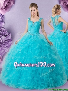 Romantic See Through Back Applique Decorated Straps Sweet 16 Dress in Baby Blue