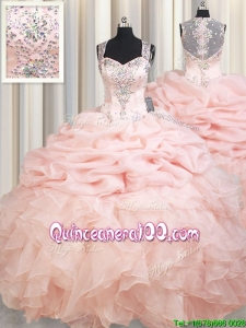 Romantic Straps See Through Back Brush Train Zipper Up Quinceanera Dress in Baby Pink