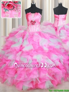 Strapless Handcrafted Flower Rose Pink and White Quinceanera Dress in Organza and Tulle