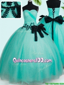 Top Seller Big Puffy Turquoise Quinceanera Dress with Bowknot and Beading