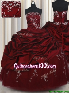 Affordable Strapless Taffeta and Tulle Wine Red Quinceanera Dress with Beading and Bubbles