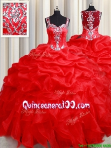 Beautiful See Through Back Straps Zipper Up Quinceanera Dress with Beading and Ruffles