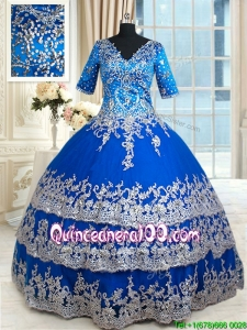 Discount V Neck Half Sleeves Zipper Up Quinceanera Dress with Ruffled Layers