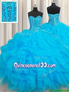 Discount Visible Boning Baby Blue Quinceanera Dress with Beaded Bodice and Ruffles