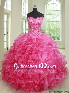 Elegant Puffy Skirt Ruffled and Beaded Hot Pink Quinceanera Dress in Organza