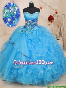 Fashionable Beaded Top and Ruffled Baby Blue Quinceanera Dress with Pattern