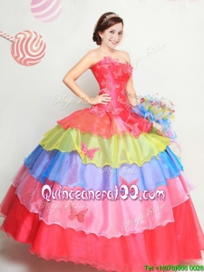 Latest Strapless Rainbow Quinceanera Dress with Butterfly Appliques and Ruffled Layers