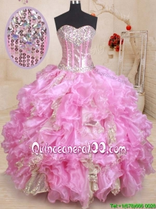 Luxurious Visible Boning Beaded and Ruffled Quinceanera Dress in Organza and Sequins