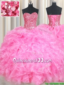 Modern Organza Rose Pink Quinceanera Dress with Beaded Bodice and Ruffles