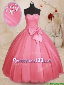 Most Popular Sweetheart Bowknot and Beaded Top Watermelon Quinceanera Gown in Tulle