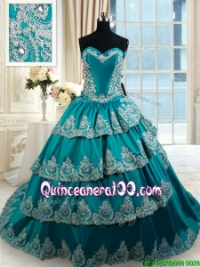 Perfect Brush Train Ruffled Layers Quinceanera Dress with Embroidery and Beading