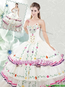 Pretty Really Puffy White Quinceanera Dress with Embroidery and Ruffled Layers