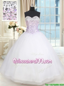 Simple Big Puffy Sweetheart Beaded Bodice Tulle White Quinceanera Dress