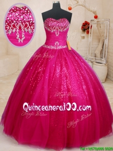 Top Seller Big Puffy Beaded and Sequined Fuchsia Quinceanera Dress in Tulle