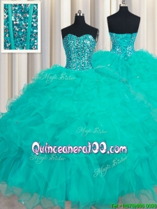 Unique Visible Boning Turquoise Sweetheart Organza Quinceanera Dress with Beaded Bodice