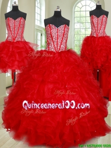 Affordable Visible Boning Red Removable Quinceanera Dress with Ruffles and Beading