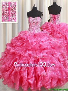 Best Selling Visible Boning Beaded Bodice and Ruffled Quinceanera Dress in Hot Pink