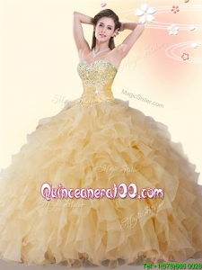 Cheap Beaded and Ruffled Gold Quinceanera Dress in Organza